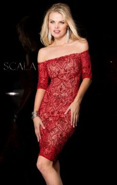 Embellished Off-The-Shoulder Dress by Scala Couture 48640ML