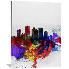 Naxart Studio 'Phoenix Watercolor Skyline 2' Stretched Canvas Wall Art