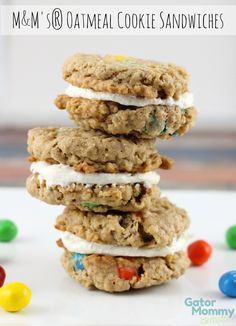 M&M's® Oatmeal Cookie Sandwiches are perfect for cookie lovers and kids. No one can resist two delicious M&M's® oatmeal cookies sandwiched between marshmallow buttercream icing. #CrispyIsBack #Ad #cbias - M&M's® Oatmeal Cookie Sandwiches Recipe on Sugar, Spice and Family Life