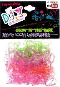 Make your crafts as unique as you! Add these super  Glow in the Dark  rubber bands to your Rubber Band Bracelet Loom Kit and have even more fun making bracelets for you and your friends! The Expressions D.I.Y. Rubber Band Refill Packs are  compatible with all popular rubber band loom kits . The pack includes 300 latex-free rubber bands in assorted colors and 12 clasps.