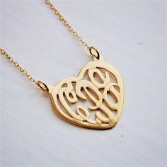 14K Gold Heart Monogram Necklace - great Valentine's gift idea!