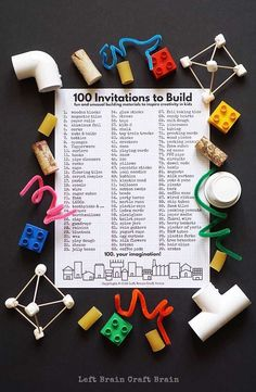 """This really bugs me that it says """"invitations"""" instead of """"inventions"""" but still a good list to save! Inspire the kids to create with 100 Invitations to Build, a free printable filled with fun & unusual building materials inspired by Iggy Peck, Architect. Steam Activities, Science Activities, Activities For Kids, Space Activities, Science Experiments, Stem Science, Teaching Science, Team Teaching, Teach Preschool"""