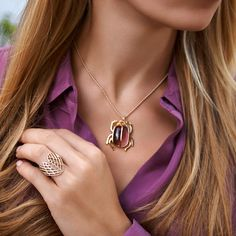 Scarab necklace – a symbol of strength and happiness. You can choose the color of crystal pendant. #lilou #scarab #necklace #carnival #ball