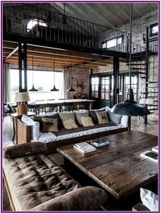 Find out why modern living room design is the way to go! A living room design to. - Find out why modern living room design is the way to go! A living room design to make any living ro - Loft Estilo Industrial, Industrial Interior Design, Industrial House, Industrial Interiors, Home Interior Design, Industrial Loft Apartment, Industrial Shelving, Industrial Furniture, Kitchen Industrial