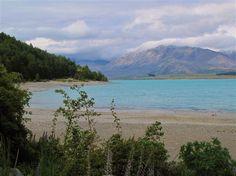 View of Lake Tekapo, New Zealand, from shore