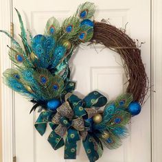 Peacock Grapevine Wreath Christmas Peacock by ThePinkGardenias