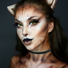 ▷ 1001 + ideas for cat face painting - Cat make-up for Halloween, yellow contact lenses, black lipstick and eyeliner, black make-up - Cat Face Makeup, Black Cat Makeup, Makeup For Brown Eyes, Cat Halloween Makeup, Halloween Make Up, Facepaint Halloween, Kitty Face Paint, Animal Makeup, Theatrical Makeup