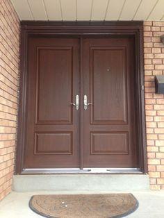 Double Fiberglass Door - 2 Panel with light walnut stain