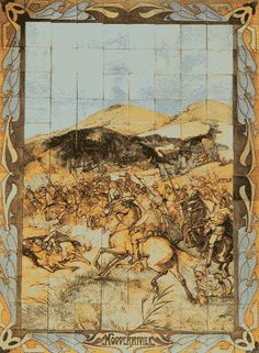 Tile tableau of the battle at Modderrivier (28 November 1899). During WWII it was put on the wall of the Transvalia Cinema in Rotterdam. After the war it was moved to the Boer War Museum in Bloemfontein, South Africa.