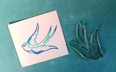 tattoo style swallow clear polymer rubber stamp by sugarskull7, $8.00
