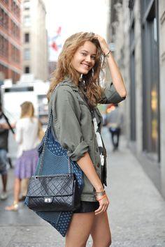 Monika Jac Jagaciak in hey great, green, military jacket. Models street style. Models off duty.