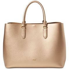 Lauren Ralph Lauren Dryden Marcy Tote ($268) ❤ liked on Polyvore featuring bags, handbags, tote bags, leather tote purse, leather tote bags, genuine leather tote, tote purses and leather tote handbags