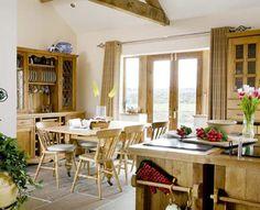 Farmhouse kitchen diner-beam above bifold?