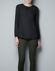 BLOUSE WITH FAUX LEATHER PATCHES ON THE SHOULDER - Shirts - Woman - ZARA United States