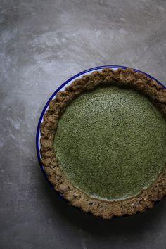 matcha custard pie with black sesame pastry