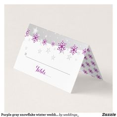 Purple gray snowflake winter wedding folded escort place card