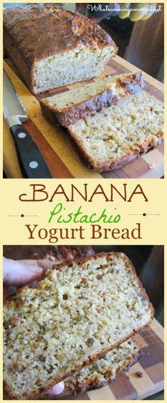 Banana Pistachio Yogurt Bread Recipe | whatscookingamerica.net | #banana #pistachio #yogurt #bread #quickbread