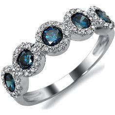 1.0ct Blue Round Diamond Anniversary Band Ring 14k White Gold 1