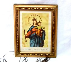 Lithography Virgin of Helpness, Lithography Auxilium Christianorum, Religious Lithography, Color Lithography, Gold Frame Lithography Art Nouveau, Color, Frame, Painting, Etsy, Vintage, Paintings Of Flowers, Art Deco Lamps, Madonna And Child