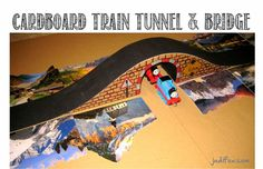 Cardboard train tunnel track and bridge
