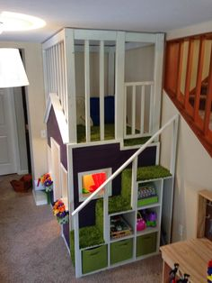 Indoor two story playhouse. This would be unbelievable with his bed ...