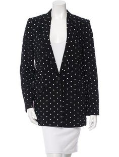 Black Givenchy blazer with peaked lapels, ivory cross print throughout, structured shoulders, dual flap pocket accents and single button closure at front. Printed Blazer, Luxury Consignment, Givenchy, Real Real, Blouse, Jackets, Clothes, Shopping, Black