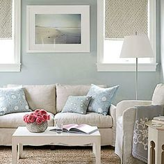 In this master bedroom sitting room, interior designer Andrew Howard paired a linen sofa and chairs with a white coffee table for a muted pastel color scheme. Coastalliving.com
