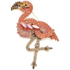 Elizabeth Cole Flamingo Pin ($255) ❤ liked on Polyvore featuring jewelry, brooches, pin jewelry, elizabeth cole, elizabeth cole jewelry and pin brooch