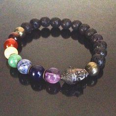 Men's 7 Chakra Bracelet, Crystals, Lava Stone, Meditation