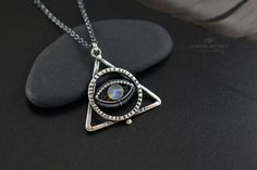 Sterling Silver Evil Eye Necklace with Labradorite, Wire Wrapped jewelry, Wiccan Necklace Labradorite Jewelry, Gemstone Jewelry, Handmade Silver, Handmade Jewelry, Unique Jewelry, Black Gift Boxes, Evil Eye Necklace, Semi Precious Gemstones, Wire Wrapped Jewelry