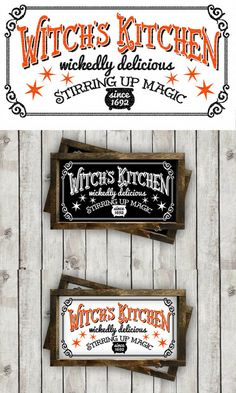 Witch's Kitchen Halloween SVG Cut File from Burton Avenue is great for diy home decor for halloween, diy shirts, wood signs or tumblers for the fall season! Make vinyl decals using Cricut or Silhouette cutting machines! Holidays Halloween, Easy Halloween, Halloween Decorations, Wooden Halloween Signs, Rustic Halloween, Halloween Table, Halloween Halloween, Vintage Halloween, Halloween Costumes