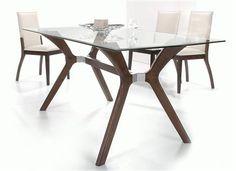 Luisa Cream Dark Walnut Glass PU Dining Room Set