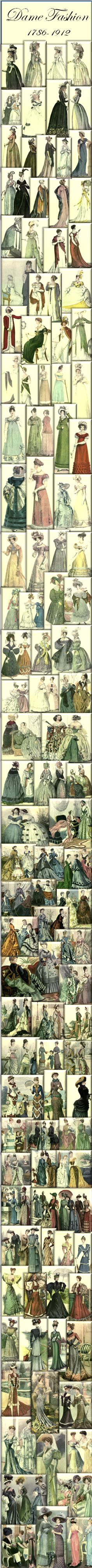 Read Dame Fashion by Julius M. Price, written in 1913. It is a beautiful account of female fashion from 1786 to 1912. Read it on DIY Collaboratorium's vintage reference page.