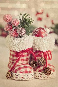Homemade-Christmas-Ornaments-Ideas-Christmas-Boots - from babies booties Handmade Christmas, Christmas Wreaths, Christmas Crafts, Christmas Ornaments, Ornaments Ideas, Merry Christmas, Christmas Ideas, Celebrating Christmas, Office Christmas