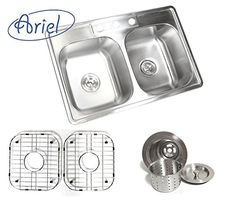 33 Inch Stainless Steel Top Mount Drop in 50/50 Double Bowl Kitchen Sink with Deluxe Lift Out Strainer *** For more information, visit image link. #AllAboutKitchen