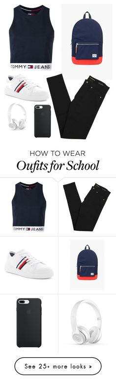 """""""School"""" by kpescobar on Polyvore featuring Herschel Supply Co., Tommy Hilfiger and Yves Saint Laurent"""