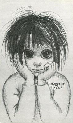 Big Eyes | Vintage Print Photo | 1963 Pencil Sketch EARLY THINKER | Margaret Keane | Walter Keane