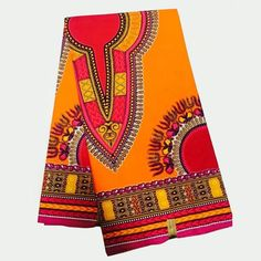 LSFM-53 Orange Dashiki Makenzi Fabric, African Wax Prints Fabrics for Clothing…