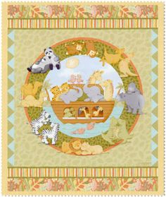 Noah's Ark Two By Two Animals Panel Cotton Quilting Fabric - Springs Creative Baby Quilt Panels, Panel Quilts, Fabric Panels, Noah, Happy Hippie, Cotton Quilting Fabric, Square Quilt, Baby Quilts, Fabric Crafts