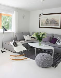 Gray sofa.   I love the color palate