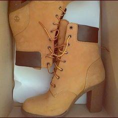 "Timberland Shoes - Timberland Glancy 6"" Women's Leather Heeled Boots Timberland Heel Boots, Timberland Waterproof Boots, Timberland Outfits, Timberlands Shoes, Timberlands Women, Timberland Fashion, Yellow Boots, Black Boots, Leather Heeled Boots"