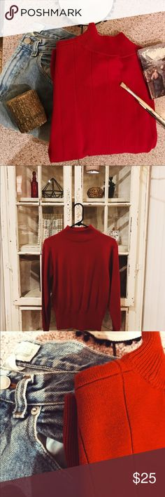 Vintage Cherry Red Lightly Striped Sweater This item is super cute & cozy. Size small, but could fit a medium. Would go super cute with high-waisted vintage wash Levi's!! Or even black jeans. Very good condition! Offers welcome!! ☺️❤️ Dress Barn Sweaters Cowl & Turtlenecks