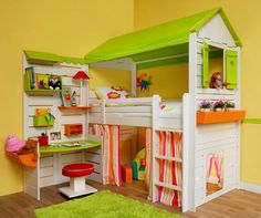Image Detail for - Lovely Twin Cabins Bed with House Shaped for Kids | Niriti