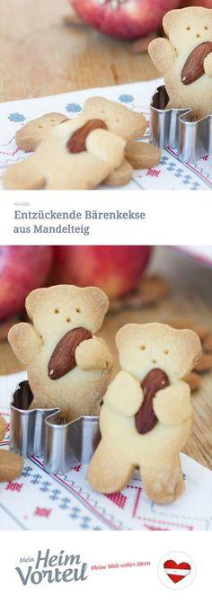 Einfach bärenstark ist diese süße Rezeptidee, mit der knusprige Mandelkekse aufgepeppt werden. Bären, die Mandeln umarmen – das begeistert vor allem Kinder. Und vielleicht helfen die Kleinen dann ja auch beim Backen? #christmas #weihnachten #snack #kekse #backen #cookies #food #rezept #recipe #kinder #children #idee #idea #easy