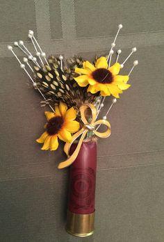 Shotgun shell boutonnière sunflower by AllSeasonDesigns on Etsy Red Fall Weddings, Fall Wedding Bouquets, Wedding Flower Arrangements, Flower Bouquet Wedding, Floral Wedding, Bridal Bouquets, Wedding Centerpieces, Floral Arrangements, Shotgun Shell Boutonniere