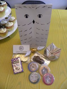 Owl gift bags with Bertie Botts, Gringotts Galleons, Golden Snitch, Chocolate Frog, Sorting hat fortune teller & House Badges