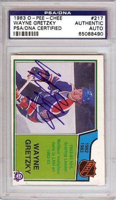 Wayne Gretzky Autographed 1983 O-Pee-Chee Card PSA/DNA Slabbed #65088490 . $119.00. This is a hand signed Wayne Gretzky 1983 O-Pee-Chee Card. This item has been authenticated and slabbed by PSA/DNA.