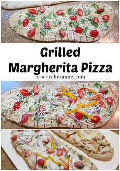 A delicious and easy, quick recipe to cook a pizza on the grill. The Margherita pizza is a traditional pizza with mozzarella, tomatoes and fresh basil. Yum!