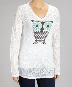 TROO White Flower Owl Burnout V-Neck Tee