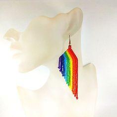 Rainbow earrings Beaded long earrings Colorful fringe dangle